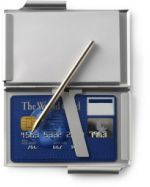 Compact Silver Card Case with Pen