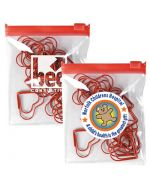 Hearts Paper clips in a branded pouch