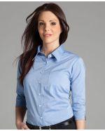 Ladies Fine Chambray Logo Printed Shirts 3/4